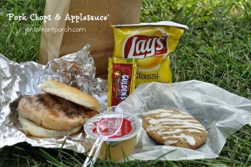 Pork Chop Sandwich and Applesauce - super easy supper on busy nights or on the go!