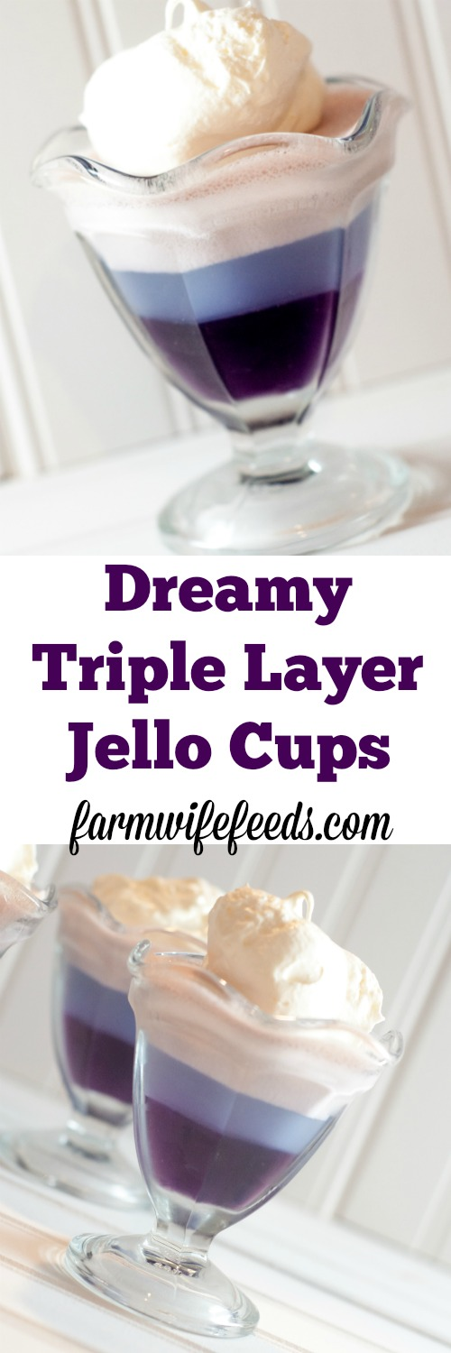 Dreamy Triple Layer Jello Cups-super simple and makes everyone smile!