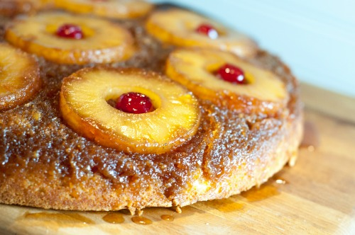 Our family favorite Pineapple Upside-Down Cake recipe, golden and delicious!