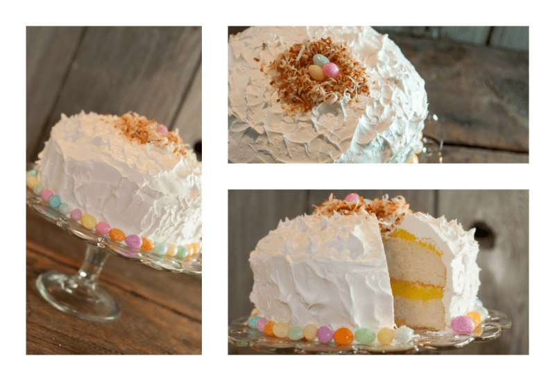 This Lemon Drop Pudding Cake is such a beautiful cake, a super simple recipe and tastes like Spring in your mouth! It's also super simple to decorate for Easter!