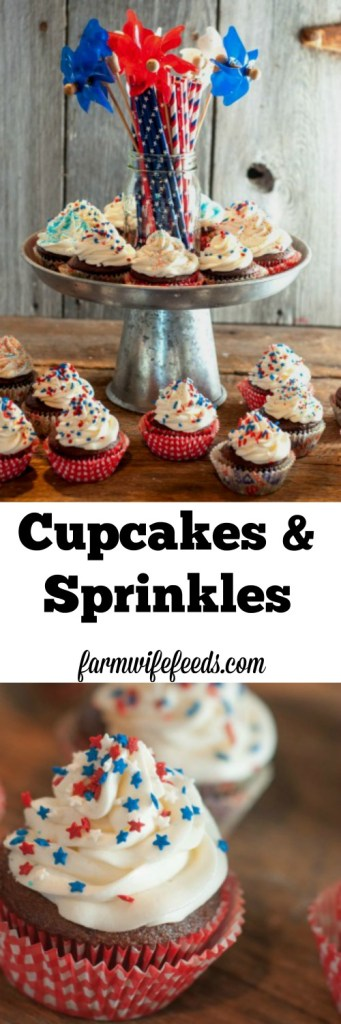 Cupcakes and Sprinkles-cute cupcake liners, boxed cake mix, neatly swirled icing & sprinkles - super easy, super cute and always super yummy!