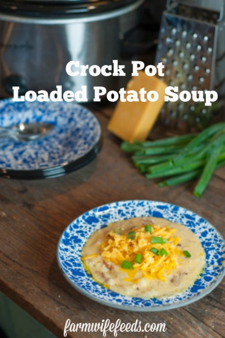 Crock Pot Loaded Potato Soup from Farmwife Feeds is a dump and go recipe that everyone will love. #crockpot #recipe #soup