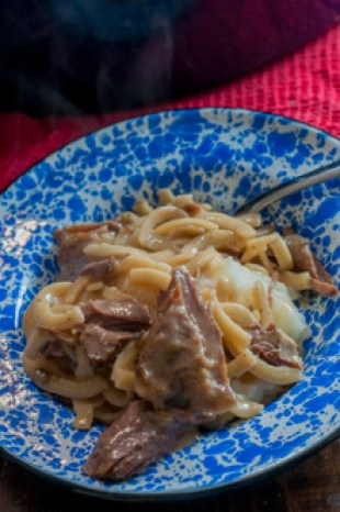 These Easy Stovetop Beef and Noodles are, well super easy and made on the stovetop so are done in less than 30 minutes!