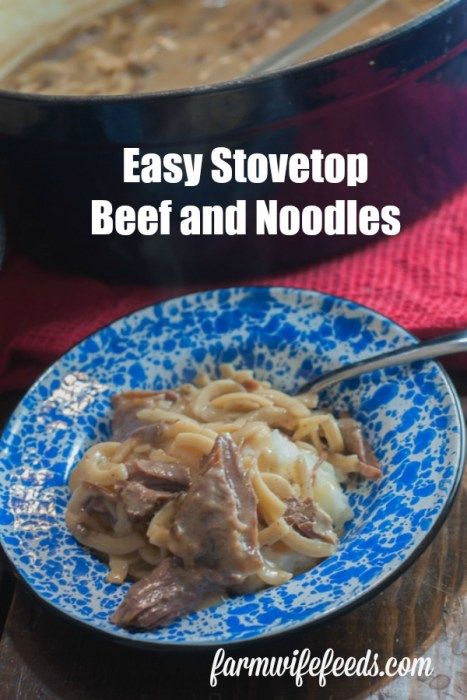 These Easy Stovetop Beef and Noodles from Farmwife Feeds are super easy and made on the stovetop so are done in less than 30 minutes! #beef #recipe #30minutes