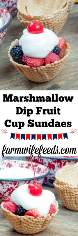 Marshmallow Dip Fruit Cup Sundaes from Farmwife Feeds made with marshmallow cream, cream cheese and fresh fruit in waffle cone bowls #sundae #sundaes #fruit #recipe