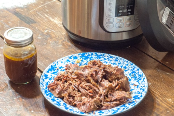 Freezer Meal Instant Pot Shredded Beef great to have on hand for easy meals from Farmwife Feeds #beef #instantpot #freezermeal #recipes