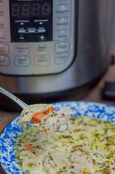 Instant Pot Homemade Chicken Noodle Soup easy deep rich flavor ready in less than an hour using frozen chicken breasts from Farmwife Feeds #chicken #recipe #instantpot #soup