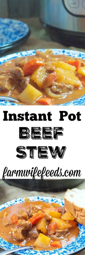 Instant Pot Beef Stew is the ultimate comfort food when you need a meal quick and easy from Farmwife Feeds #comfortfood #beef #instantpot #recipe #meatandpotatoes
