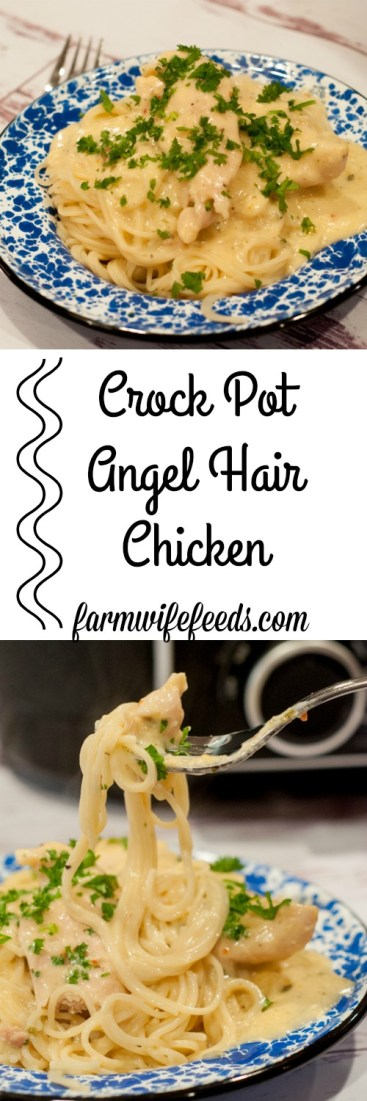 Crock Pot Angel Hair Chicken from Farmwife Feeds is a super easy way to satisfy the whole family. #recipes #chicken #pasta #crockpot