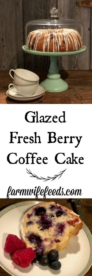 Glazed Fresh Berry Coffee Cake from Farmwife Feeds is full of fresh blueberries and raspberries, super simple to make. #recipe #cake #coffeecake #fruit