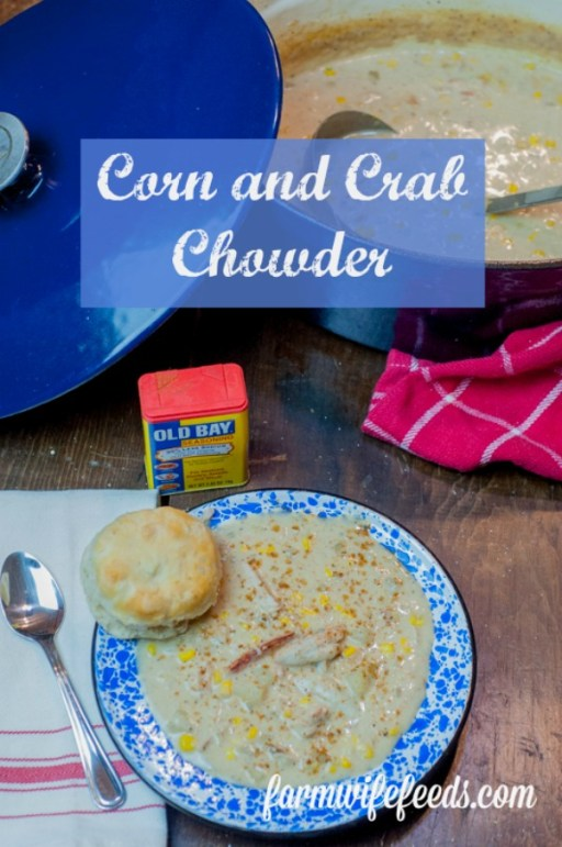 Corn and Crab Chowder from Farmwife Feeds is a hearty soup. #chowder #soup #crab #recipe