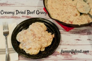 Creamy Dried or Chipped Beef Gravy from Farmwife Feeds is a classic comfort food from my childhood #beef #gravy #recipe #castiron