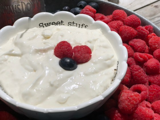 Creamy Coconut Fruit Dip from Farmwife Feeds is a great make ahead dip for get togethers, pitch-ins or just to have on hand for snacking. #fruit #recipe #dip #coconut
