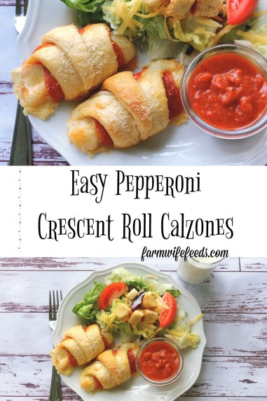 Easy Pepperoni Crescent Roll Calzone from Farmwife Feeds is a quick supper for on the go or those nights you need a quick supper. #recipe #pizza #easymeal