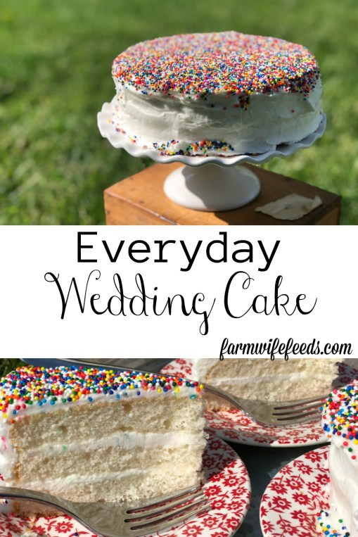 Everyday Wedding Cake from Farmwife Feeds is an easy homemade add to box mix cake that tastes bakery made. #weddingcake #cake #sprinkles #boxmix