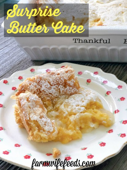 Surprise Butter Cake or Ooey Gooey Butter Cake from Farmwife Feeds is an easy dessert to whip up that everyone will love. #recipe #creamcheese #cakemix