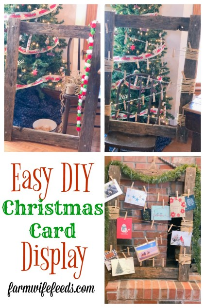 Easy DIY Christmas Card Display from Farmwife Feeds, an easy Christmas craft to display those cards from friends and family! #DIY #christmascraft #christmas
