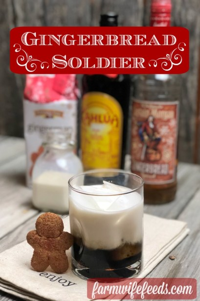 Gingerbread Soldier from Farmwife Feeds is a festive take on a traditional White Russian. #gingerbread #cocktail #rum #kahlua
