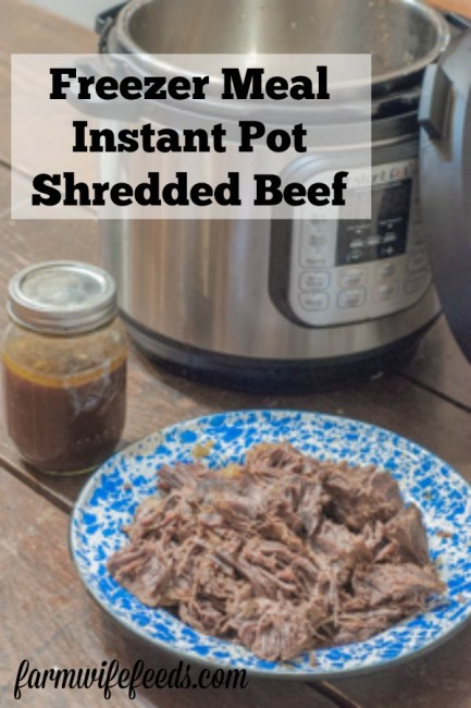 Freezer Meal Instant Pot Shredded Beef from Farmwife Feeds is a great meal prep recipe for those busy week nights. #instantpot #beef #freezermeals #mealprep