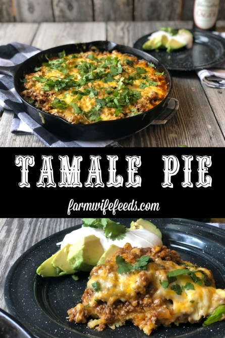 Tamale Pie from Farmwife Feeds made with easy homemade cornbread base, hamburger, enchilada sauce covered in cheese. #cornbread #beef #enchilada