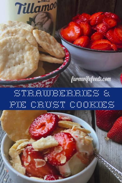 Strawberries and Pie Crust Cookies from Farmwife Feeds are a classic summer treat you eat with ice cream that everyone will love. #strawberries #strawberry #summertreat #icecream