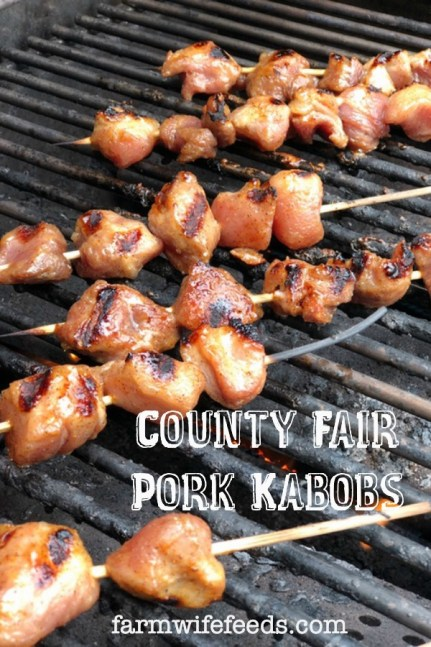County Fair Pork Kabobs from Farmwife Feeds, a sweet slightly spicy little bite of pork grilled to perfection. #pork #kabobs #grill