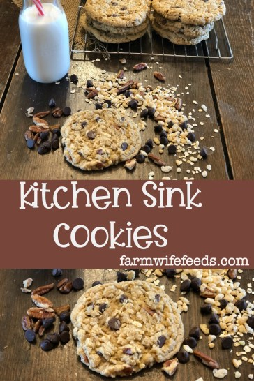 Kitchen Sink Cookies from Farmwife Feeds, everything and anything you like can go in these cookies, chewy crispy and delicious. #cookies #homemade #kitchensink