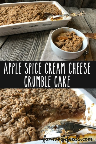 Apple Spice Cream Cheese Crumble Cake from Farmwife Feeds is a simple 4 ingredient dessert that everyone will love. #creamcheese #apple #dessert