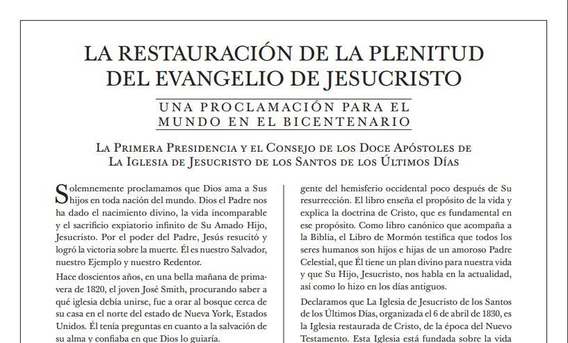 Presidente Nelson lee nueva «Proclamación para el Mundo» en histórica conferencia