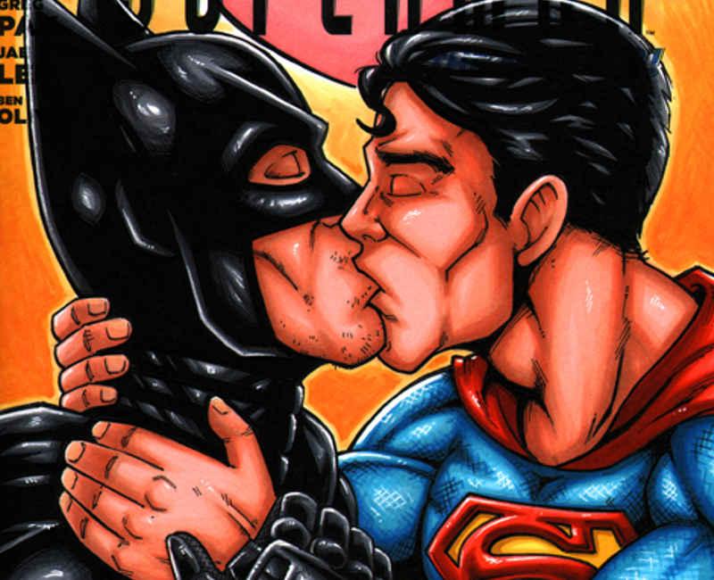Batman beijando Superman - Batman + Superman in Love sketch cover by gb2k