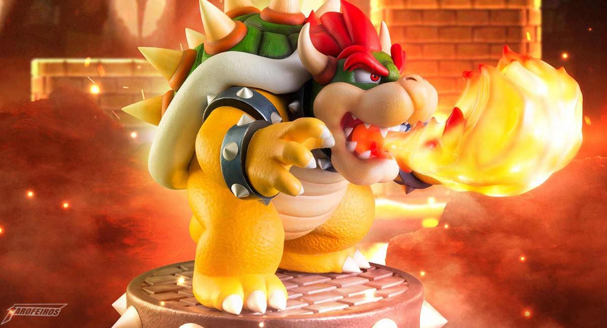 Estátua do Bowser o vilão de Super Mario