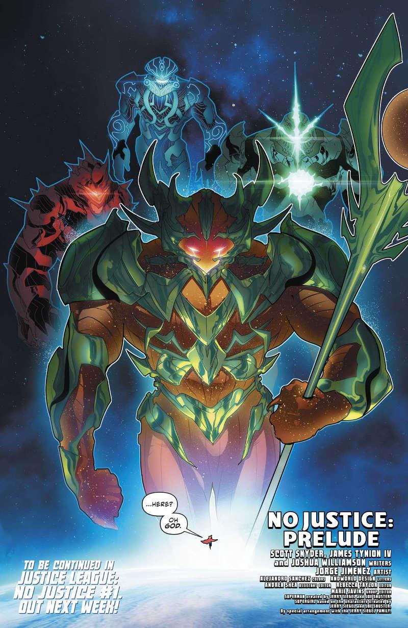 Gigantes espaciais são os inimigos de Vingadores e da Liga da Justiça - No Justice - DC Nation #0