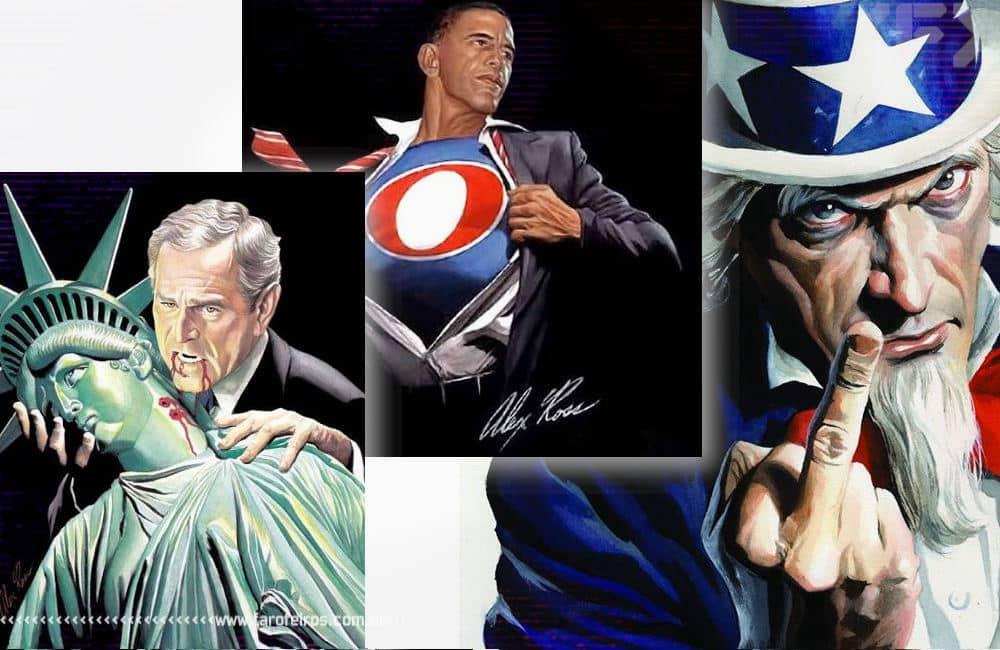 A arte de Alex Ross - Obama - Bush - Tio Sam - Blog Farofeiros