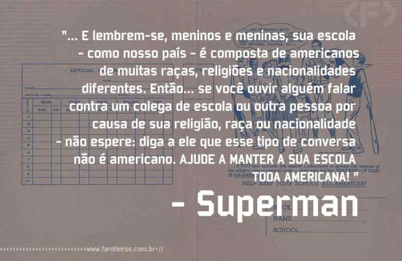 Isso não é americano - Pensamento - Superman - Blog Farofeiros