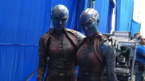 Atores da Marvel e seus dublês - Nebulosa de Karen Gillan & Kelly Richardson - Blog Farofeiros