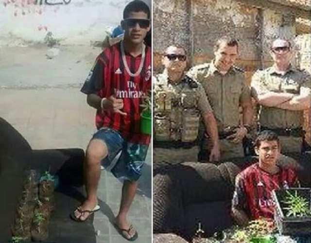 Jovem posta foto com pés de maconha e Policiais curtem (Reproduçâo/Facebook)