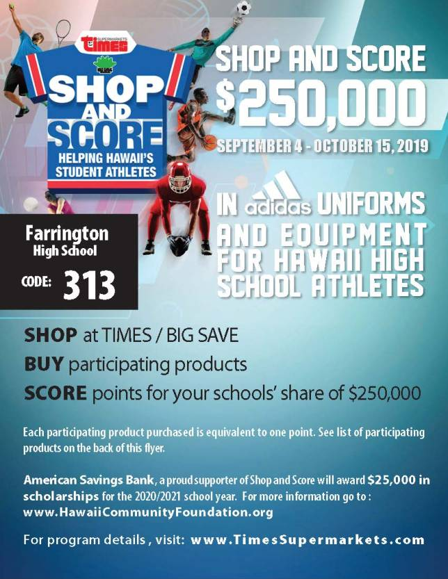 Shop And Score Flyer 2019 Farrington Page 1