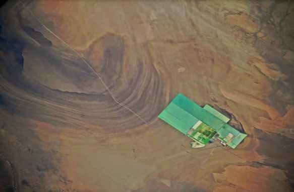 A view from space of Xinjiang's fertilizer plant in the China desert
