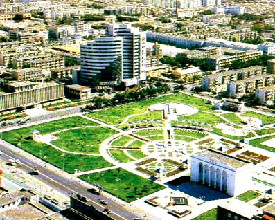 A view of the Karamay theater and People's Park in Xinjiang, China