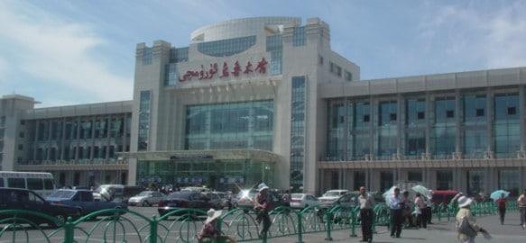 A view of the Urumqi south train station in Xinjiang, China