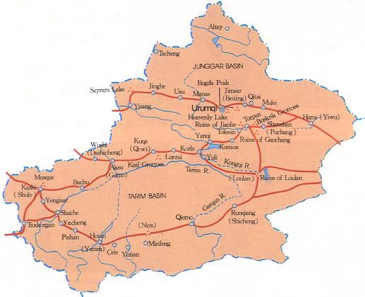 A simple map of Xinjiang in English
