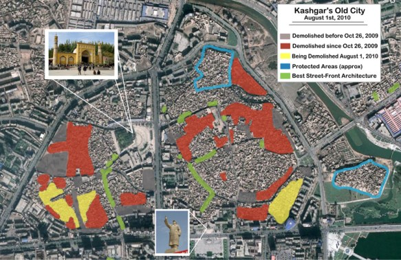 A map detailing what remains of Kashgar's Old City