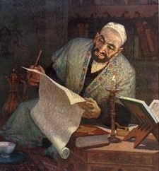A Uyghur man studying by the light of a candle