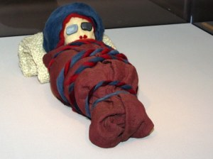 A paper mache mummy replacing the real Xinjiang mummy