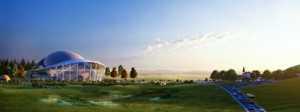 A reverse view of the new Kanas Lake Theater in Xinjiang, China