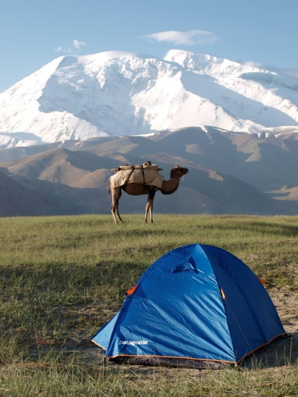 A tent set up along the Karakoram Highway in Xinjiang, China