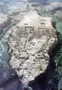 An aerial view of Turpan's Ancient City of Jiaohe in Xinjiang