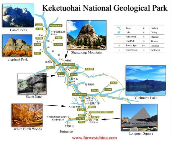 An English map of the Keketuohai National Geological Park in Altay, Xinjiang