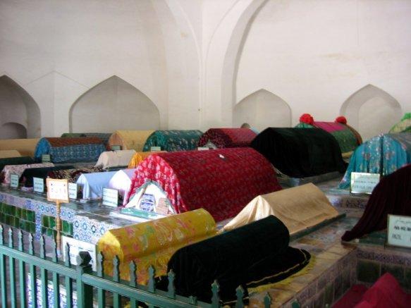 Tombs inside the Apak Khoja Mausoleum in Kashgar