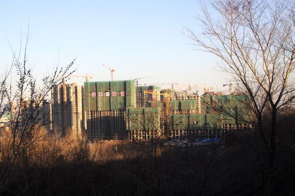 New buildings being built around the Urumqi High-Speed Train Station in Xinjiang